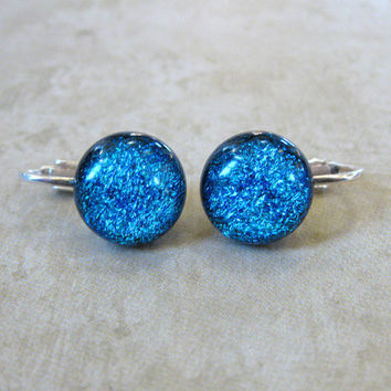 Clip On Fused Glass Earrings Sparkly Blue to Aqua by mysassyglass