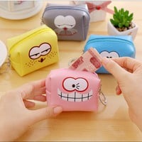 2017New Fashion Lovely Kawaii Candy Color Cartoon Face Women Girls Wallet Multicolor PU Coin Bag Purse Kid Gift