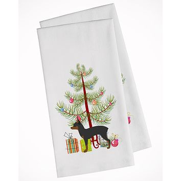 Toy Fox Terrier Merry Christmas Tree White Kitchen Towel Set of 2 BB2905WTKT
