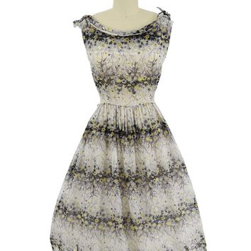 50s Semi Sheer Floral Print Midi Dress-M