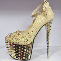 Super Platform Studded Spike Ankle Straps Glitter Lace Diamonds High Heels