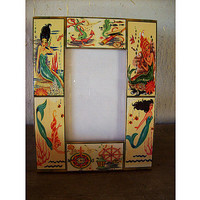 mermaid picture frame retro 1950's pin up girl vintage nautical rockabilly wall decor