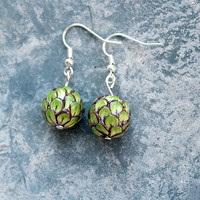Artichoke Earrings / Bead Drop Earrings / Fun Earrings / Womens Earrings /  For Her / Dangle / Hipster Earrings / Gift / Boho / Food