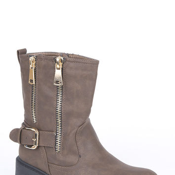 Zip and Buckle Detail Biker Boots