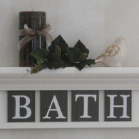 """Bathroom Wall Home Decor Linen White and Chocolate Brown 24"""" Shelf with 4 Wooden Letter Tiles for BATH"""