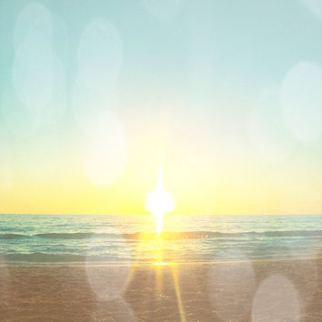 Beach Sunset Bokeh Art Print