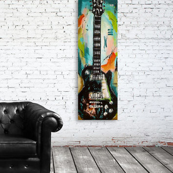 Guitar painting Music Art Gift for musician Original blue, green, orange, pink guitar painting on 36x12 inch canvas by Magier