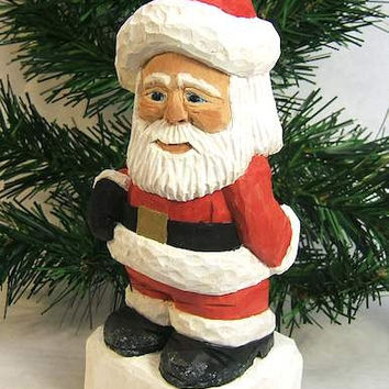 Handmade Wood Santa Claus Carving Unique Gift Art Sculpture Wood Carving by Claude's Woodcarving