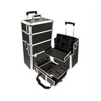 Black Professional Rolling Makeup Case