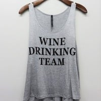 Wine Drinking Team Tee - Heather Grey