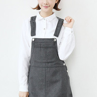 Grey Patch Pockets Overall Mini Dress