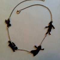 Peter Pan and Darlings Silhouette Necklace by PaperComposure