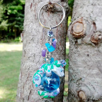 Flower Fox Keychain -- Handmade Polymer Clay, Silver Fox + Jeweled Purple Flowers & Ivy Leaves w/ Blue Swirled Glass Marble, Geometric Beads