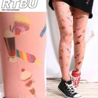Cutie Decora Sweet Desert Ice cream Cupcake Sundae Candy Popsicle Print Tights