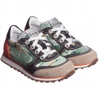 Boys Leather Gazette Print Trainers