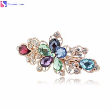 Flower Rhinestone Hair Pins Hair Clips