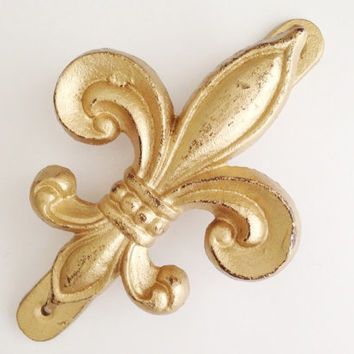 Fleur De Lis Door Knocker New Orleans Vintage Style Shabby Chic Front Door Decor Gold Ornate Door Fixture Accessory Cast Iron New Home Gift