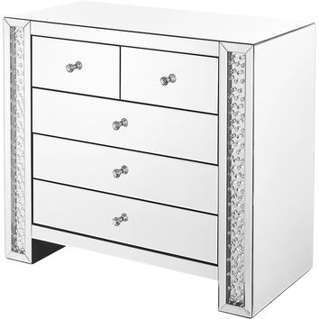 "Modern 39.5"" Crystal 5-Drawer Cabinet, Clear Mirror Finish"