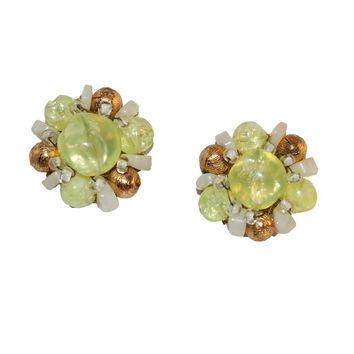 Mid-Century Green & Gold Cluster Bead Earrings by Hobe
