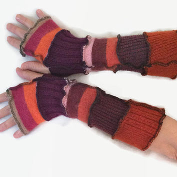 Upcycled Fingerless Gloves  Brown Orange Purple Armwarmers Recycled Wrist warmers Stripe Knit Fingerless Mittens Fashion Accessories gift
