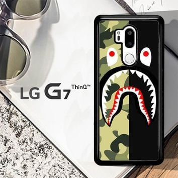 Half Camo Bape Shark Face Pattern L1951 LG G7 ThinQ Case