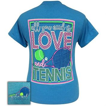 Girlie Girl Originals Preppy All You Need is Love and Tennis T-Shirt