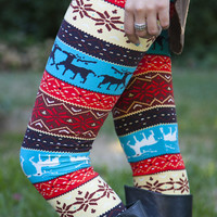 Colorblast Winter Reindeer Leggings