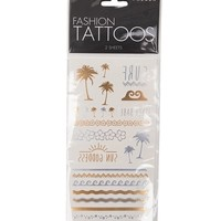 With Love From CA Surf Flash Tattoo Set - Womens Scarves - Gold - One