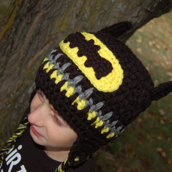 "Crochet Pattern: Batman Beanie or Earflap Hat 12m - Adult ""Permission To Sell Finished Items"""