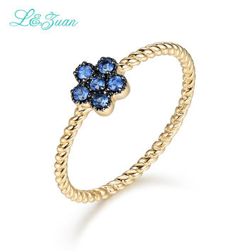 L&Zuan 14K Gold 100% Natural 0.178ct Sapphire Rings for Women Small Flower Ring Fine Jewelry Trendy Party Accessories Best Gift