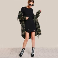 Women Cut Out Slim Sexy Mini Bodycon Dresses Fall  Fashion Long Sleeve Punk Dress