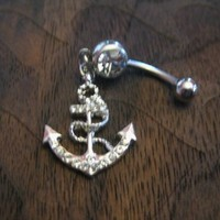 Buy Fashion Anchor with Crystal Rhinestones Belly Button Ring on Shoply.