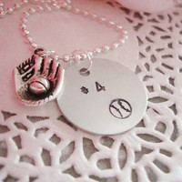 Baseball Hand Stamped Necklace With Charm Can Be Customized And Or Personalized