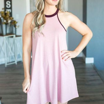 PEAPVA6 Z Supply- The Mei High Neck Dress- Lilac/Plum Shadow