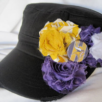 Black  Military Distressed Cadet Army Hat with Shabby Frayed Flowers in Minnesota Vikings  Colors and a Vikings  Accent