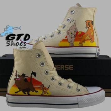 DCKL9 Hand Painted Converse Hi. The Lion King, Simba, Nala, Timon, Pumbaa. Handpainted shoes