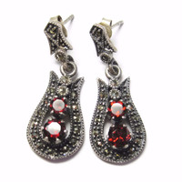 Garnet and Marcasite Dangle Earrings Sterling Silver