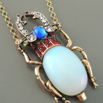 Vintage Necklace - Statement Necklace - Opal Necklace - Rhinestone Necklace - Beetle Necklace - Bug Jewelry - Handmade