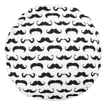 Black And White Hipster Moustache Pattern Round Pillow