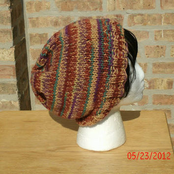 CIJ - Hand Knit Hat - The Rasta in Sierra - Christmas In July - Unisex Hat - Winter Accessories