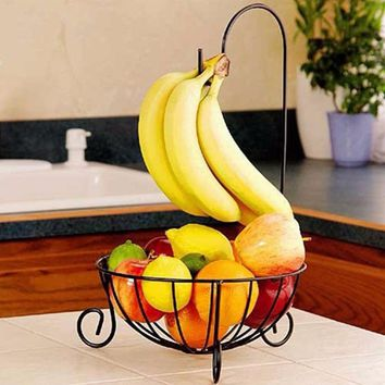 Metal Fruit Basket Detachable Banana Hanger Holder Hook Fruit Storage Baskets Kitchen Tableware