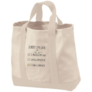 Sorry I'm Late I Saw A Unicorn 2-Tone Shopping Tote