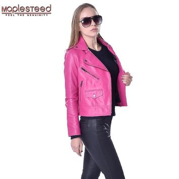 Factory Women Genuine Leather Jacket 100% Sheepskin Jackets Fashion Slim Bomber Leather Jacket Women Leather Coat Autumn ZH026
