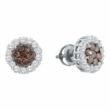14kt White Gold Women's Round Cognac-brown Color Enhanced Diamond Flower Cluster Screwback Earrings 3-4 Cttw - FREE Shipping (US/CAN)