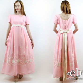 Vintage 70s Emma Domb Pink Floral Embroidered Maxi Dress M Princess Dress Pink Dress Pink Prom Dress Hippie Dress Hippy Dress Party Dress