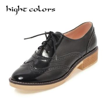 2018 Women Flats Oxfords British Style Fashion Footwear Lace-Up Leather Casual Ladies Shoes Autumn Solid Oxford Shoes For Women