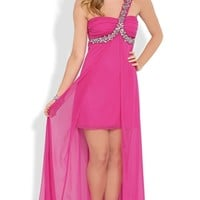 One Shoulder Long Homecoming Dress with Stones and Flyaway Skirt