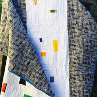 Modern Quilt, Large Throw Quilt, Bed Quilt, Couch Quilt, Quilts, Studio Quilt, Confetti Windows Quilt, Improvisational Quilt