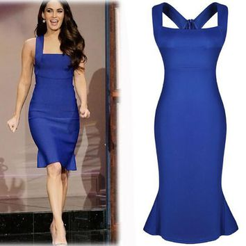 Summer Blue Celeb Cocktail dress NEW Fashion popular sexy hip blue dress, women bodycon Women Clothing Work Sexy Party dress DK3003C