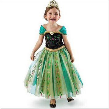 CNJiaYun Girls Dress Cartoon Cosplay Snow Queen Princess Dresses Elsa Dresses Anna Costume Baby Children Clothes Kids Clothing